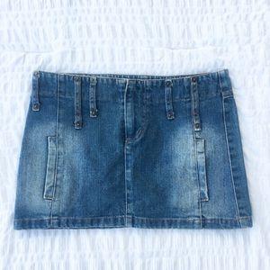 Zara TRF Distressed Denim Mini Skirt